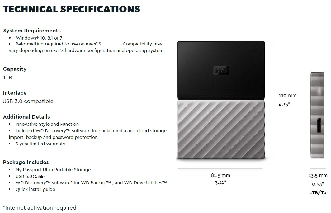 Details about NEW 1TB WD MY PASSPORT ULTRA Portable Hard Drive USB 3 0  External Backup PC MAC