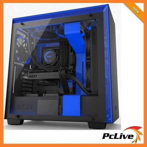 Nzxt H700i Black Blue Case Gaming Mid Tower Tempered Glass Window 4x